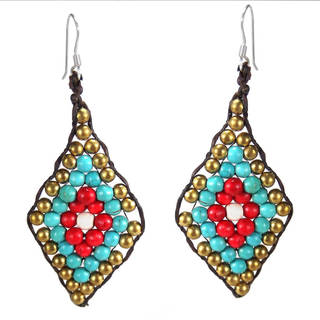 Handmade Tribal Leaf Turquoise and Synthetic Coral .925 Silver Earrings (Thailand)