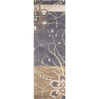 Hand-tufted Windy Floral Runner Wool Area Rug (Grey - 26 x 8 Runner/Surplus)