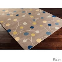 Hand-tufted Gum Drop Floral Oval Wool Area Rug - 6' x 9'
