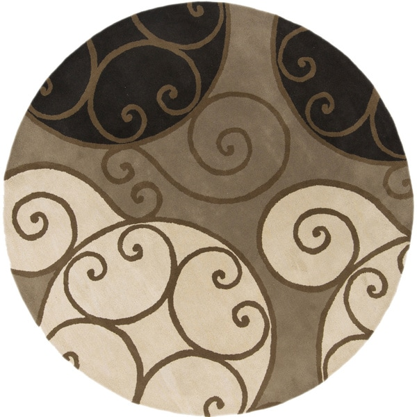 Hand Tufted Ying Yang Round Wool Area Rug (6u0027 .