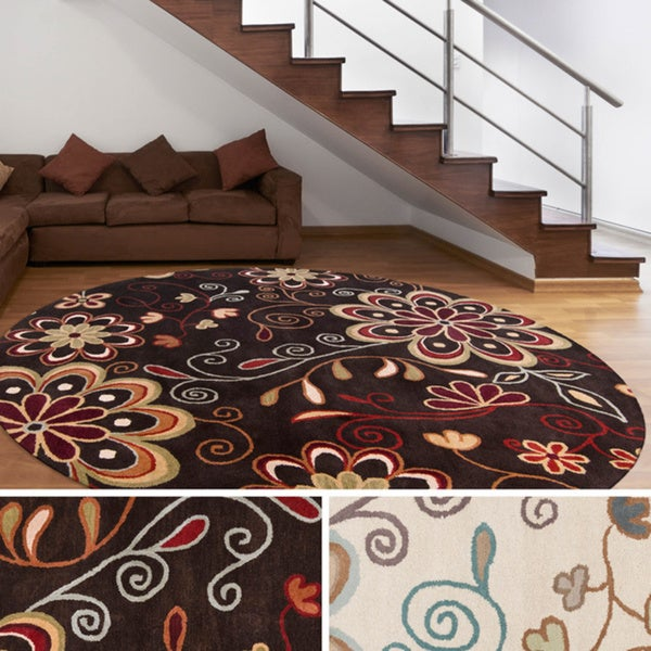 Shop Hand Tufted Peacock Floral Round Wool Area Rug Free