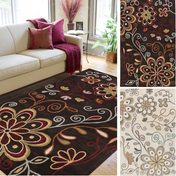 Shop Hand-tufted Peacock Floral Square Wool Area Rug