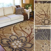 Hand-tufted Windy Floral Square Wool Area Rug - 9'9 x 9'9