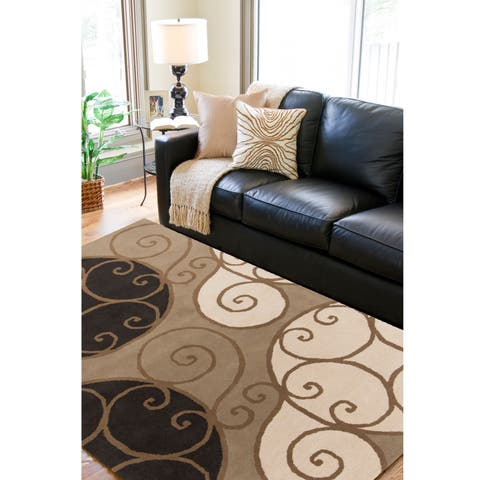 """Porch & Den Farrar Hand-tufted Wool Abstract Area Rug - 9'9"""" Square"""