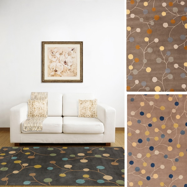 "Hand-tufted Gum Drop Floral Wool Area Rug - 7'6"" x 9'6"""