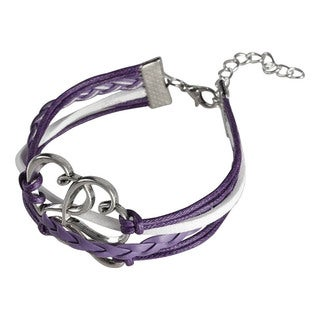 Zodaca Multi-string Leather Bracelet with Metal Charms