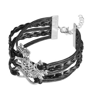 Zodaca Multi-string Leather Bracelet with Metal Charms (More options available)