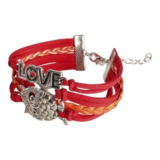 Zodaca Colorful Multistring Leather Bracelet with Silver/ Bronze Alloy Charms (Option: Red/ Orange/ Silver Owl)