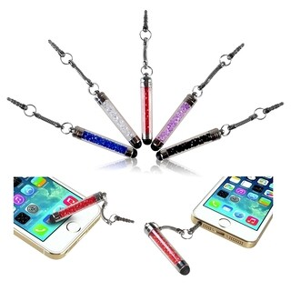 INSTEN Universal Crystal Mini Stylus with Dust Cap for Apple iPhone 4S/ 5S/ 6 (Pack of 5)