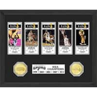 NBA San Antonio Spurs 5-time Champions Bronze Coin Ticket Collection