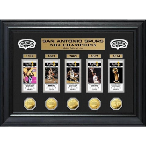 NBA San Antonio Spurs 5-time Champions Deluxe Gold Game Coin and Ticket Collection