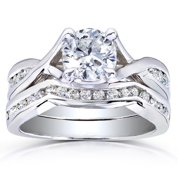 Annello by Kobelli 14k White Gold 1 1/2ct TDW Braided Diamond Bridal Set