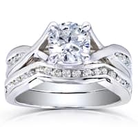 Annello by Kobelli 14k White Gold 1 1/2ct TDW Braided Diamond Bridal Set