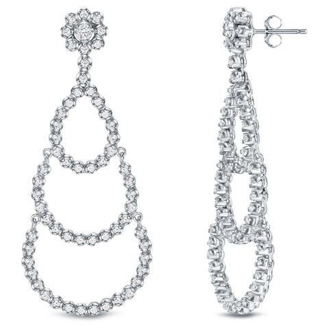 Auriya Unique 3ct TDW Diamond Chandelier Dangle Earrings 18k White Gold
