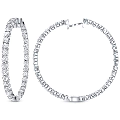 Auriya Large 14 1/2 carat TW Diamond Hoop Earrings 14k White Gold