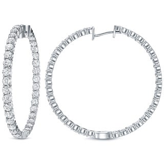 Auriya 14k White Gold 14 1/2ct TDW White Diamond Hoop Earrings
