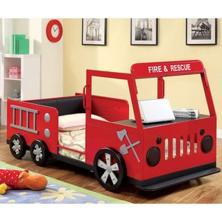 Furniture of America Toke Novelty Red Twin Metal Fire Truck Youth Bed