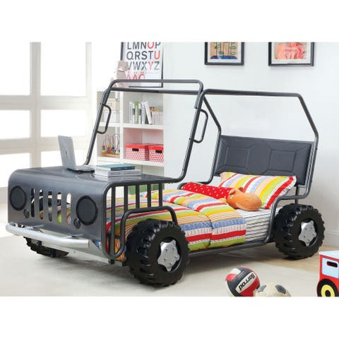 Furniture of America Beln Novelty Grey Twin Metal Suv Youth Bed