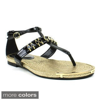 Fahrenheit Women's 'Morena-06' Embellished Flat Sandals