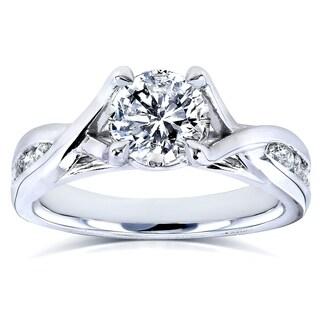 Annello 14k White Gold 1 1/5ct TDW Braided Diamond Engagement Ring (H-I, I1-I2)