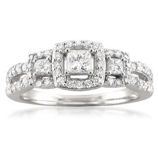 Montebello 14k White Gold 3/4ct TDW Princess-cut 3-stone Halo Diamond Engagement Ring