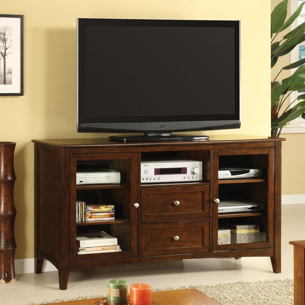 Furniture Of America Chandler Embled Dark Walnut Entertainment Console