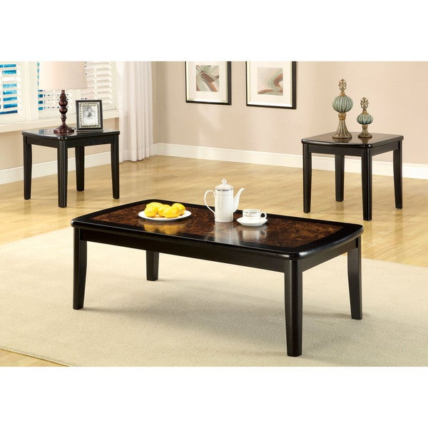 Furniture of America Korr Transitional Black 3-piece Accent Table Set