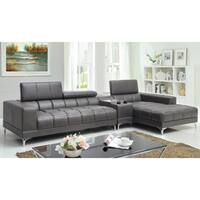 Furniture of America Bourlette Grey Bonded Leather 2-Piece Sectional