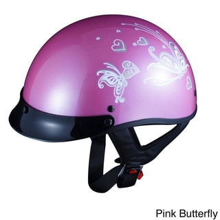 GLX Motorcycle Screw-on Visor Half Helmet