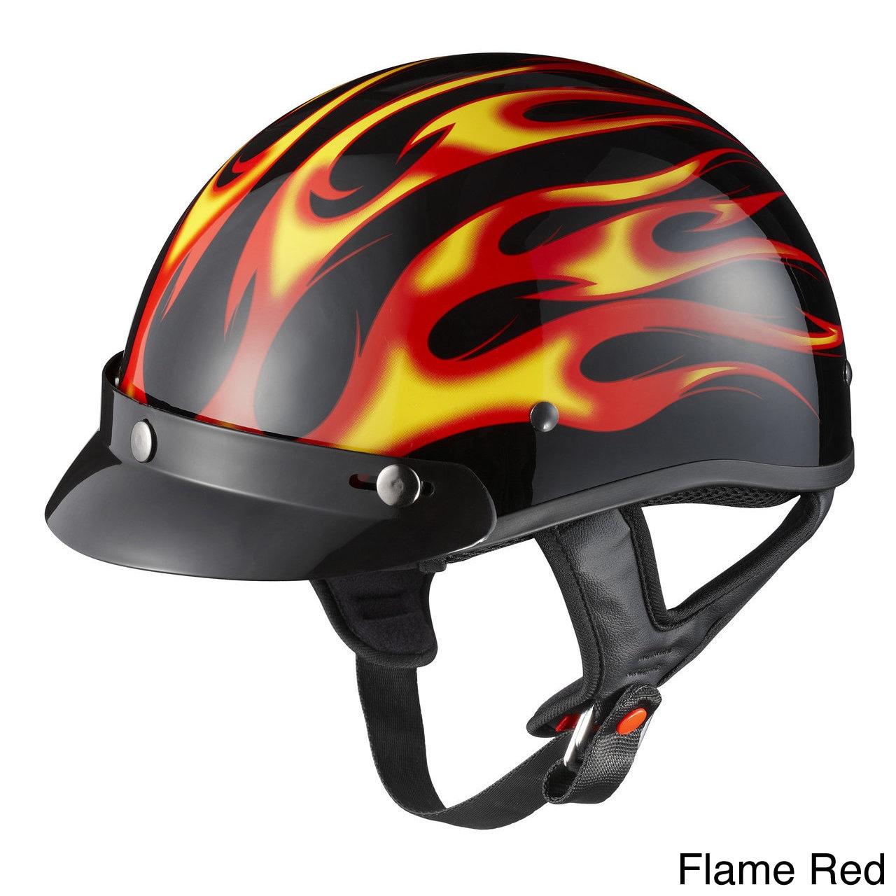 GLX Motorcycle Snap-on Visor Half Helmet (Flame Red, Small)