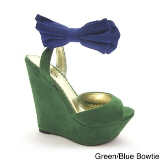 Luvs Women's 'Victoria' Bowtie Peep-toe Wedges (More options available)