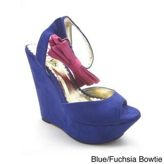 Luvs Women's 'Victoria' Bowtie Peep-toe Wedges