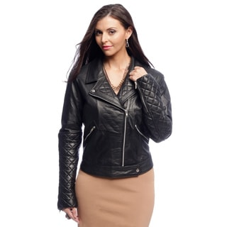NDK New York Women's Diamond Quilted Lambskin Motorcycle Jacket with Notch Collar