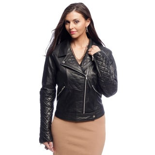 NDK New York Women's Diamond Quilted Lambskin Motorcycle Jacket with Notch Collar (More options available)