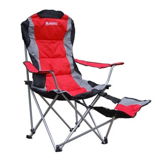 Red Polyester Foldable Footrest Camping Chair