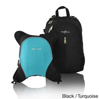 Obersee Rio Diaper Bag Backpack with Detachable Cooler (Black/Turquoise)