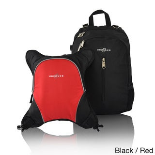 Obersee Rio Diaper Bag Backpack with Detachable Cooler (Black/Red)