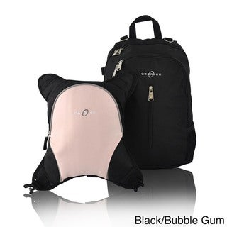 Obersee Rio Diaper Bag Backpack with Detachable Cooler (Black/Bubble Gum)