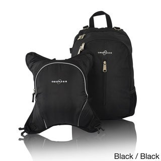 Obersee Rio Diaper Bag Backpack with Detachable Cooler (Black/Black)