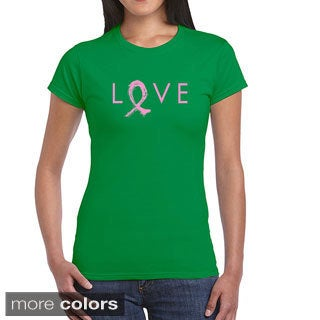Women's 'Love' Cancer Ribbon Short-sleeve T-shirt