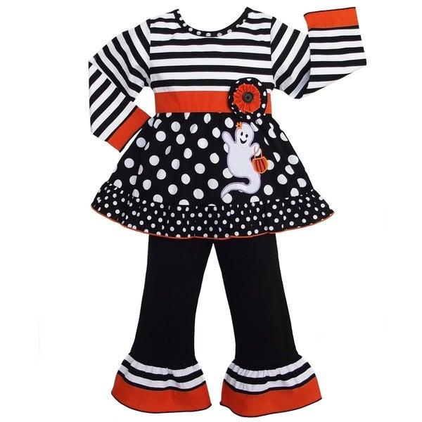AnnLoren Girls' Halloween Orange Stripe and Dot Ghost Outfit