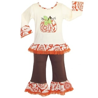 AnnLoren Girls' Boutique Autumn Pumpkin Patch Outfit (2 options available)