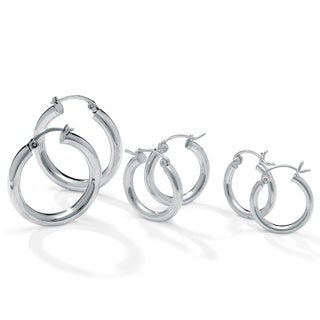PalmBeach Three-Pair Set of Hoop Earrings in Silvertone Tailored