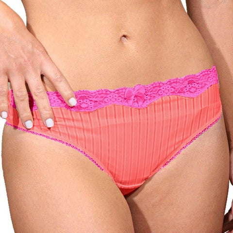 Prestige Biatta Women's Sheer Stripe Thong with Satin Bows and Back Keyhole