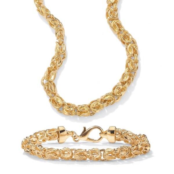 14k Gold Plated Byzantine Link Necklace And Bracelet Set Tailored