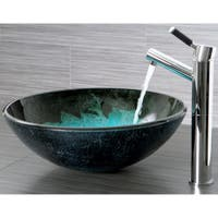 Turquoise and Black Glass Vessel Bathroom Sink