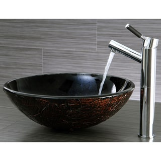 Black Onyx and Brown Glass Vessel Bathroom Sink