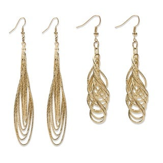 2 Pairs of Multi-Chain Drop Earrings Set in Yellow Gold Tone Bold Fashion