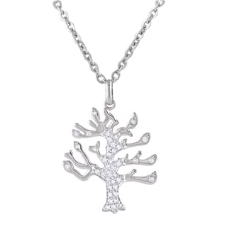 Sterling Silver 1/4ct TDW Diamond Tree of Life Necklace