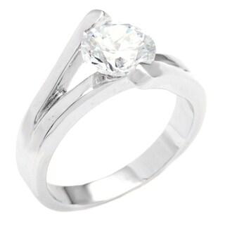 Simon Frank Silvertone Cubic Zirconia Engagement Ring